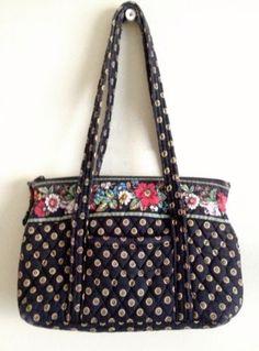 Vera Bradley RETIRED VIBRANT BLACK Little Betsy Bag Tote Purse Handbag Flowers
