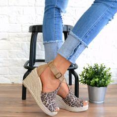 54a8c3baada Women Chic Espadrille Wedges Adjustable Buckle Sandals Wedge Sandals