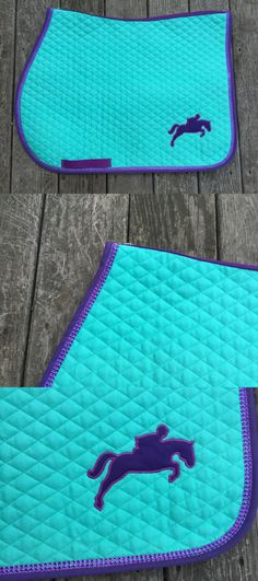 Saddle Pads 183377: Custom English Saddle Pad Aqua And Purple With Appliqued Jumper And Bling Trim -> BUY IT NOW ONLY: $45 on eBay!