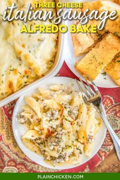 Three Cheese Italian Sausage Alfredo Bake - great make-ahead pasta dish. Penne pasta, alfredo sauce, sour cream, ricotta, garlic, Italian sausage, eggs, parmesan, and mozzarella cheese. SO good!! We make this at least once a month! Can freeze half for later. This is THE BEST pasta casserole we've ever eaten!!! #casserole #freezermeal #pasta #sausage #alfredosauce Penne Alfredo, Penne Pasta, Pasta Bake, Alfredo Sauce, Cheese Sausage, Sausage Pasta, Make Ahead Casseroles, Pasta Casserole, How To Cook Sausage