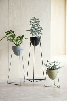 In stores now // The sculptural shape of the plant stands beautifully highlights the wild nature of the plants, Anna thinks. Plant stands, available in three sizes and asst. colours, prices from DKK / EUR / ISK 1229 / NOK / GBP / SEK / JPY 773 House Plants Decor, Plant Decor, Decoration Plante, Flower Stands, Interior Decorating, Interior Design, Interior Plants, Interior Doors, Steel Furniture