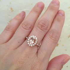Halo Diamond Morganite Engagement Ring in 14k Rose by LaMoreDesign