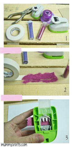 Como hacer whasi tape con glitter paso a paso