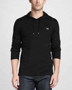 Waffle-Knit Hoodie, Black  by Lacoste at Neiman Marcus.
