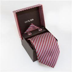 Red, Gray-Blue, Silver Striped.   	  This is a Specialty Box Set that comes with a tie, matching cufflinks, and pocket square, all in a matching Box.  Perfect for weddings, dinner parties, and other special occasions.