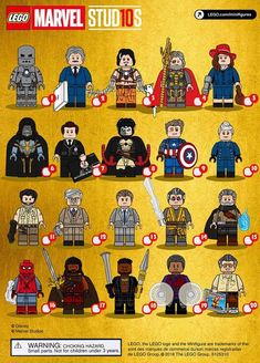 Marvel Studios First 10 Years Lego CMF Minifigure Draft Ms Marvel, Marvel Vs Dc Comics, Lego Dc Comics, Lego Custom Minifigures, Lego Minifigs, Lego Star Wars, Lego Ironman, Lego Memes, Lego Pictures