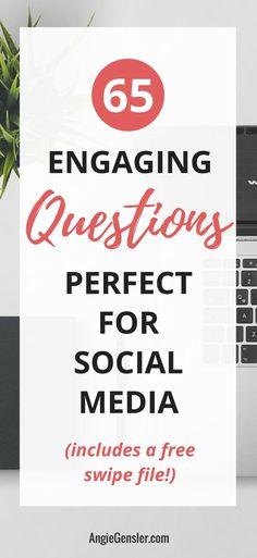 How do you increase social media engagement? Ask questions! Here are 65 social media questions you can ask to increase engagement. #socialmedia #socialmediatips #socialmediamarketing via @angiegensler