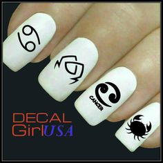 Cancer Nail Art Decals 32 Cancer Zodiac Nail by DecalGirlUSA