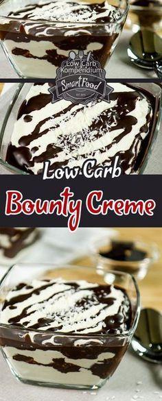 Bounty Creme – Das Low-Carb Dessert passend zum Low-Carb Bounty. Die Umstellung auf eine Low-Carb Ernährung sorgt am Anfang oftmals dafür, dass man lieb gewonnene Dinge vermisst. Dazu gehören in der Regel auch Süßigkeiten oder das Dessert nach einem guten Essen. Dabei hat man gar keinen Grund dazu – schließlich gibt es so viele leckere Low-Carb Desserts und Low-Carb Süßigkeiten. Das heutige Dessert wird alle Kokosnuss-LiebhaberInnen begeistert. Die Bounty Creme ist ein echtes Highlight und e