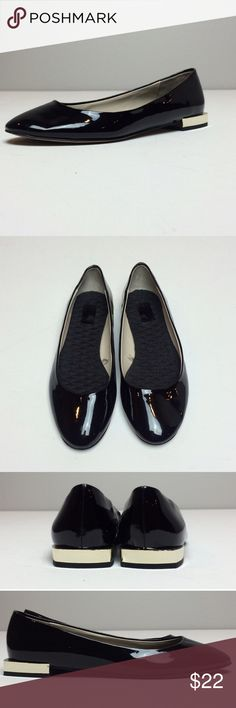 """Zara basic collection black patent flats. Size 36.  Zara basic collection black patent upper flat with gold square heel.  Quilted fabric insole.  Heel height 0.625"""". Minor scuffs on toe of the right shoe. Only wore 2 times, in good conditions. Zara Shoes Flats & Loafers"""