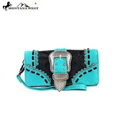 MW142-W002 Montana West Western Buckle Collection Wallet-Turquoise -- Read more  at the image link.