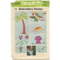 Simplicity 6198 Hot Iron Transfer Embroidery Parrot Mushrooms Palm Tree Flowers Listing in the Fabric Transfers,Fabric Painting & Decorating,Crafts, Handmade & Sewing Category on eBid Canada Palm Tree Flowers, List Of Flowers, Different Flowers, Vintage Pins, Vintage Photos, Vintage Items, Bee Supplies, Craft Supplies, Embroidery Transfers