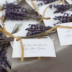 classic font/cards but the lavender and tie give such a beautiful rustic feel these would be an easy DIY for those brides looking to take on projects!
