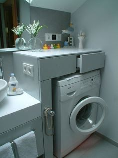 To make small laundry room attractive and functional, good organization is crucial. It is a real challenge to make good organization of the small laundry Outdoor Laundry Rooms, Small Laundry Rooms, Laundry In Bathroom, Small Bathroom, Bathroom Interior Design, Interior Design Living Room, Living Room Designs, Bathroom Countertops, Beautiful Bathrooms