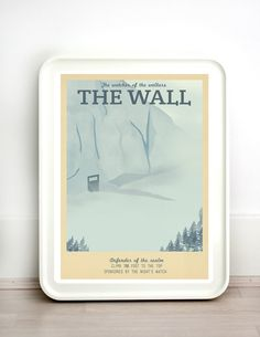 Retro Travel Poster - Game of Thrones - The Wall - MANY SIZES - Modern Vintage Stark Lannister Jon Snow Tyrion Daenerys Typography Art Print by TeacupPiranha
