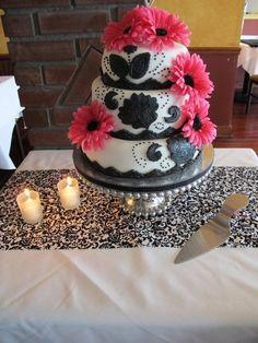 Pink and black bridal shower cake #bridalshower #cake
