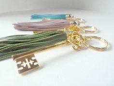 Tassel and key fob in green Key fob key chain handbag by SueSouk, $15.75
