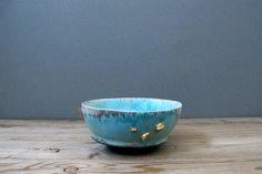 mudpuppyceramicstudio:  turquoise blue bowl with gold inclusions