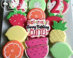 Twotti Fruitti Two-tti Fruity Fruit Birthday Second Birthday Party Cookies Fruit Birthday, 2nd Birthday Party Themes, 26th Birthday, Baby Girl Birthday, Summer Birthday, Birthday Cookies, Birthday Party Decorations, Princess Birthday, Fruit Decorations