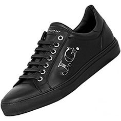 9be85f563be8 John Galliano Mens Leather Sneakers Black  Amazon.co.uk  Shoes   Bags