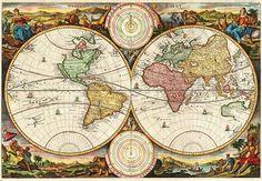 'Antike Weltkarte Landkarte Antique World Map Two Hemispheres Rare Vintage Art Daniel Stoopendaal' von Masterpieces Of Art bei artflakes.com als Poster oder Kunstdruck $15.24