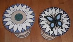 Tiled ceramic tables my husband designed and made for me.