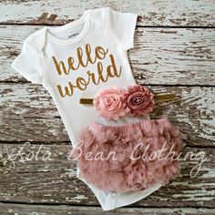 Baby Girl Take Home Outfit Newborn Baby Girl Hello World Bodysuit Bloomers Headband Set Dusty Rose Pink lolabeanclothing
