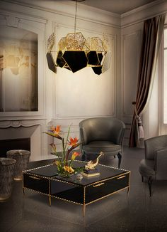Living Room Ideas | IVY Cocktail Table, DÉLICE Chair and HYPNOTIC Chandelier | Koket | See more: https://www.brabbu.com/en/all-products.php