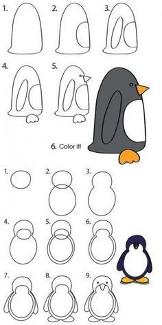 How to draw penguins. draw animals for kids, arts visuels cycle drawing Cute Easy Drawings, Art Drawings For Kids, Drawing For Kids, Animal Drawings, Art For Kids, Drawing Animals, Penguin Drawing Easy, Drawing Lessons, Art Lessons
