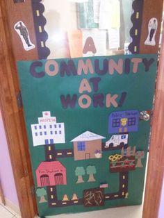 Community Helper Door Decor Creative Curriculum Preschool, Preschool Decor, Kindergarten Themes, Community Helpers Preschool, Class Decoration, Preschool Classroom, Art Plastique, School Fun, Activities For Kids
