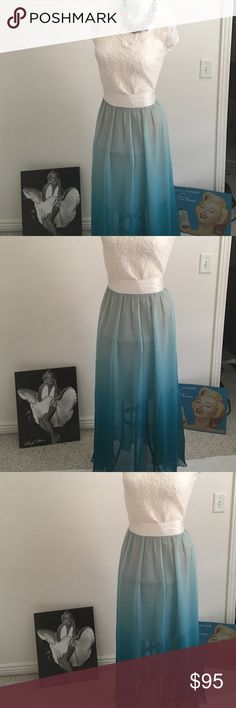 Boutique Seeley 100% silk ombré maxi size L NWOT Boutique Seeley brand that is high end. I purchased hoping my alterations lady could make it smaller and with it being 100% silk it would ruin the beautiful flow and texture so I'm finally selling. The maxi goes for over $300 but I want someone to enjoy it bc I can't and it's beautiful so I'm giving a killer deal. It has a nude slip underneath that goes to the top of your knees then the ombré look that is to die for! Band at waist is off white…