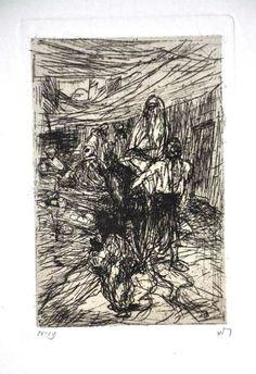 Marius Bauer: Ets, Gesluierde vrouw op een ezel