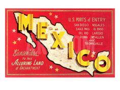 Map of Mexico Art Print at Art.com
