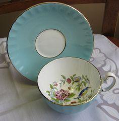 AYNSLEY Bone China Tea Cup & Saucer Sky Blue Asiatic Bird Gold Trim England #elegant #aynsley
