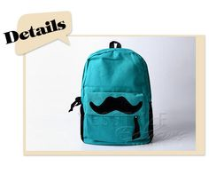 YESSTYLE: 59 Seconds- Moustache Backpack (Green - One Size) - Free International Shipping on orders over $150