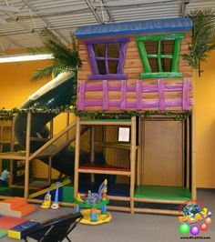 Wacky tree house design ideas for your indoor playground structure. This one was designed for a child care center for younger children. www.iplayco.com Playground designs, manufacture and install worldwide.