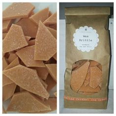 - Wax Brittle - **Salted Caramel Ice Cream** This irresistible sensation combines the tastes of indulgent caramel ice cream and rich in vanilla flavour with tantalizing sea salt. Hand Poured Soy Wax Melts.