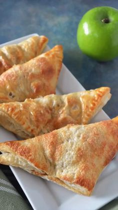 These apple turnovers are so easy to make for a quick treat your family will love. Apples are cooked with a little brown sugar and cinnamon, wrapped in puff pastry and baked to golden perfection. Apple Recipes With Puff Pastry, Apple Turnovers With Puff Pastry, Apple Recipes For Kids, Easy Puff Pastry Recipe, Healthy Dessert Recipes, Healthy Desserts, Baking Recipes, Pastries Recipes, Apple Dumplings