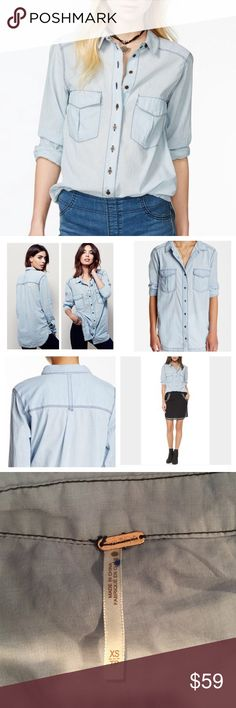"""NWOT Free People light blue stitched button up Brand new without tags. See photo for crossed out tag to prevent return to retail store. Free People Washed Blue Last Chance Buttondown, 100% cotton, machine washable, 18"""" armpit to armpit (36"""" all around), 18"""" arm inseam, 28"""" length, thin lightweight cotton fabric, front button closure, flap-patch chest pockets, spread collar, long sleeves, curved hem, dark stitching, three-button cuffs, back yoke with locker loop, measurements are approx. Free…"""