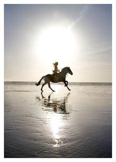 Ooit zou ik dit wel eens willen doen...ondergaande zon en galopperen over een leeg strand.