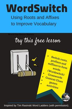 Check out the free Vocabulary Lesson designed for grades available from Reading Specialty. This engaging lesson teaches vocabulary and emphasizes prefixes, suffixes, and roots. Vocabulary Instruction, Vocabulary Words, Vocabulary Builder, H Words, Root Words, Too Cool For School, Middle School, School Stuff, High School