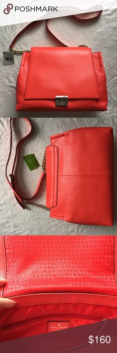 Kate spade Giuliana crossbody Kate spade Giuliana melrose way crossbody in geranium. Adjustable strap. Gold hardware. New with tags, but some very light scratches on magnetic emblem (please see pic 4). Approx. Dimensions: 11.75 in (L) x 7.75 in (H) x 4.75 in (D) kate spade Bags Crossbody Bags