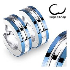 20G Pair of 316L Surgical Steel 2 Tone Hoop Earrings with Blue Edges by Spikes -- Awesome products selected by Anna Churchill
