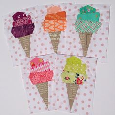 Made some 'summer flavored' ice cream cones for Chelsea's @pinkdoorfabrics…