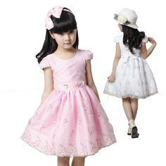 Free shipping Children's clothing female child  one-piece dress  2014 summer child tulle dress puff sleeve bow tulle US $14.20