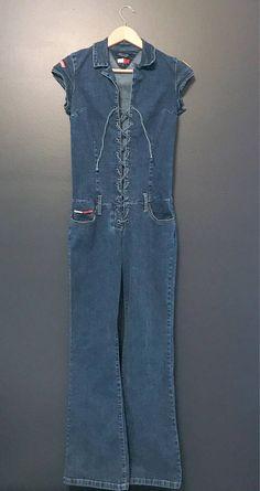 822c2b8901 Vintage Tommy Hilfiger Denim Jumpsuit Blue Jean Romper Womens Size Medium  Tommy Jeans One Piece