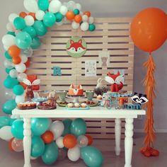 New birthday themes party boy ideas Baby Boy 1st Birthday Party, Baby Party, Birthday Party Themes, Birthday Ideas, Fox Party, Birthdays, Toddler Boy Birthday, Unisex Baby Shower, Baby First Birthday