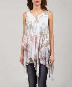 Loving this White & Tan Anabelle Silk-Blend Handkerchief Tunic on #zulily! #zulilyfinds