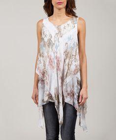 Love this White & Tan Anabelle Silk-Blend Handkerchief Tunic on #zulily! #zulilyfinds