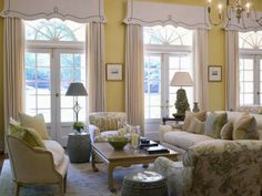 The Enchanted Home: love these window treatments for the curved upper windows....might work in our great room